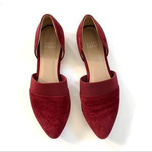 Eileen Fisher Wine Red Suede Point Flats